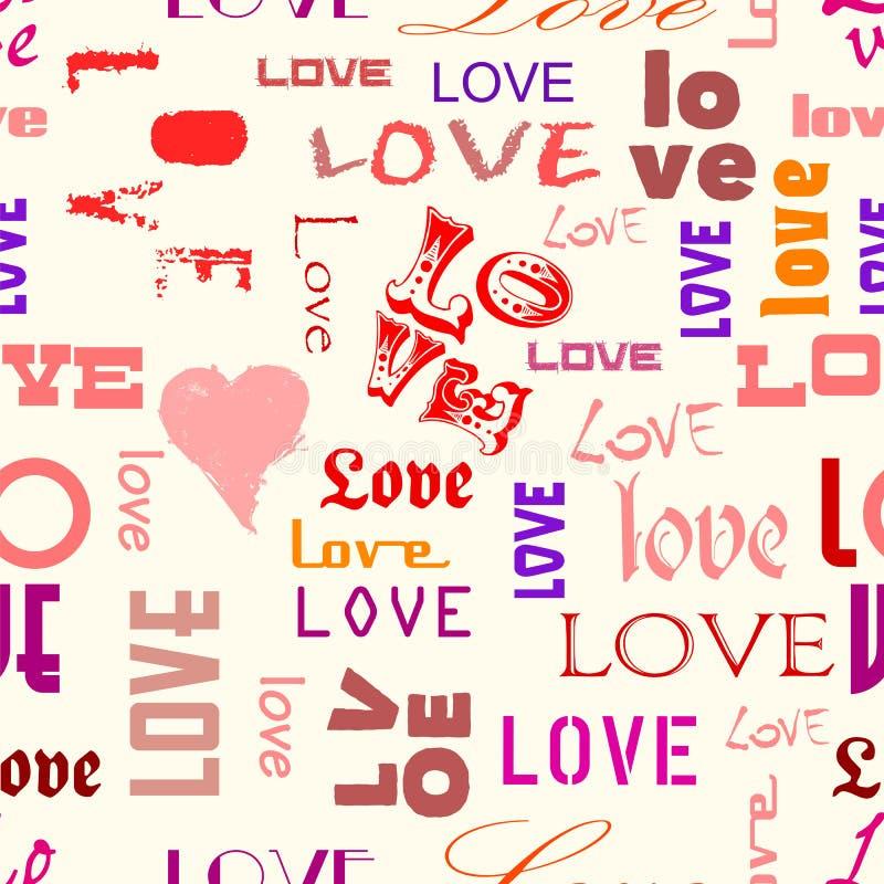 Miłość bezszwowy wzór royalty ilustracja