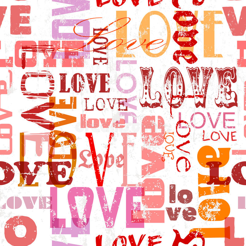 Miłość bezszwowy wzór, ilustracja wektor