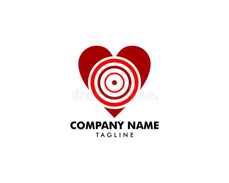 Miłość celu znaka symbolu ikony logo wektor ilustracji