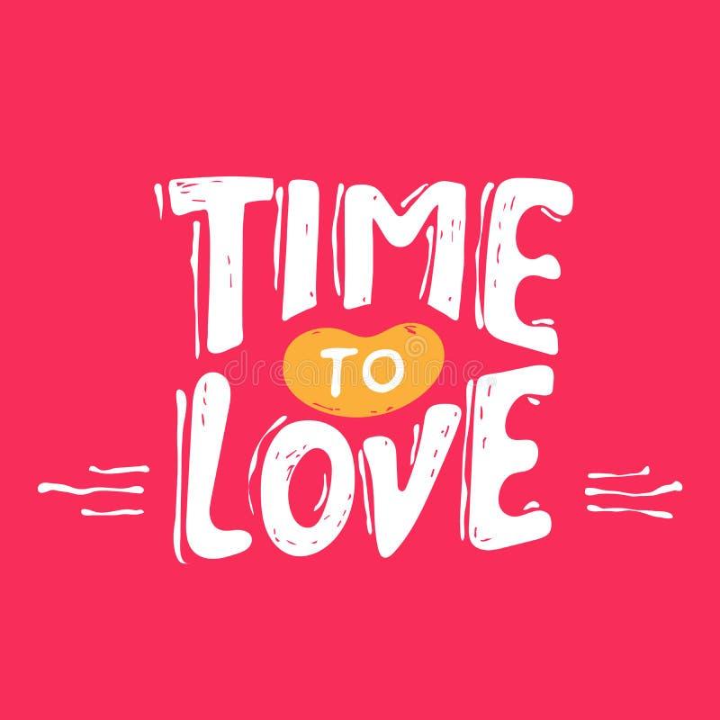 miłość czas rocznika grunge ręki literowanie z sercem dla koszulki odzieży, druku, plakata, karcianego projekta etc, również zwró royalty ilustracja
