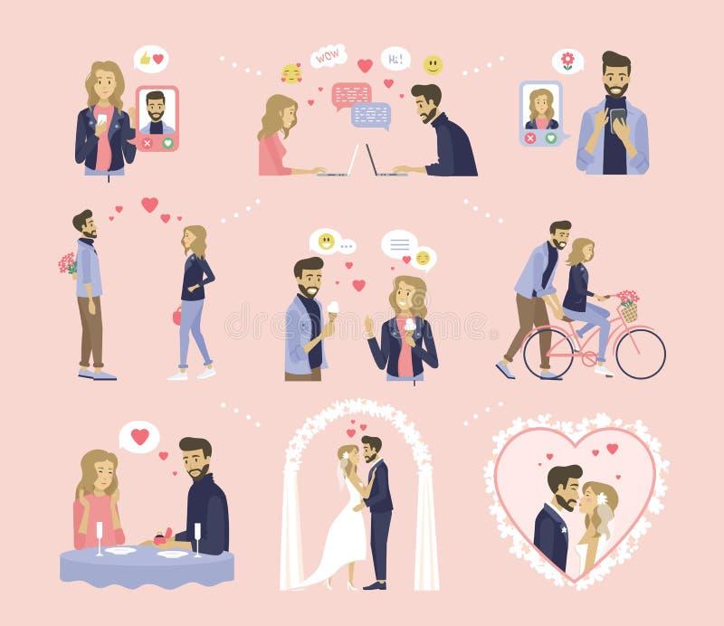 Miłość, datowanie i ślub, pary związek ilustracja wektor