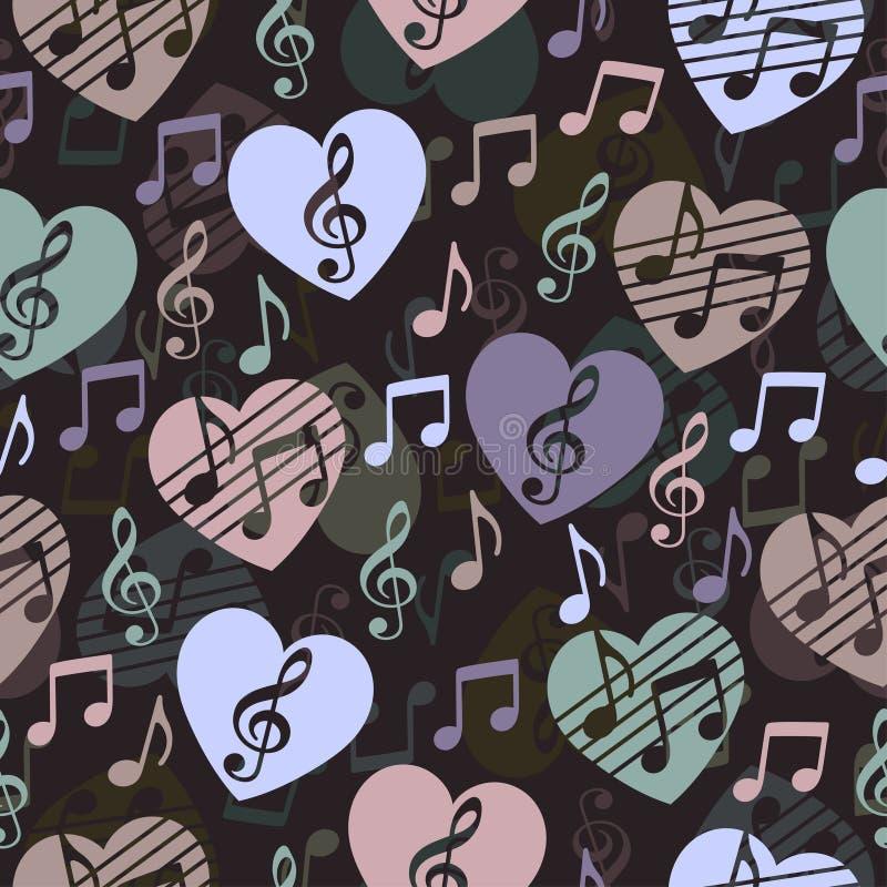 Miłość dla muzyki, muzykalny abstrakcjonistyczny wektorowy tło, bezszwowy wzór ilustracji