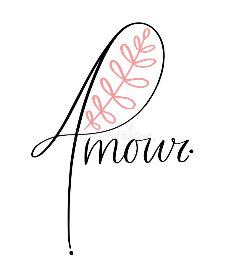 Miłość druku koszulki projekt Handwritting typografia dla kartki z pozdrowieniami lub ściany sztuki druku Francuski słowa Amour ilustracji