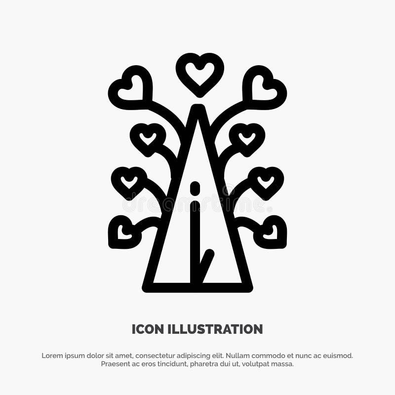 Miłość, drzewo, serce, walentynka, Valentine's dzień, Kreskowy ikona wektor ilustracja wektor