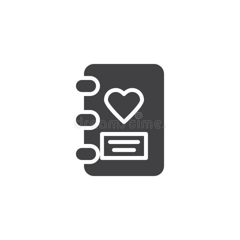 Miłość dzienniczka wektoru ikona ilustracja wektor