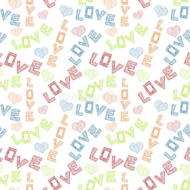 Miłość Gryzmoląca Formułuje Bezszwowego tło royalty ilustracja