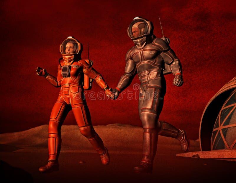 Miłość i burza piaskowa na Mars ilustracja wektor