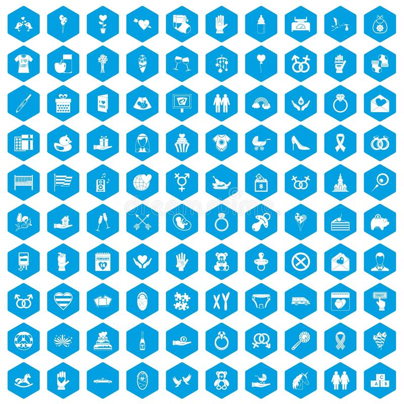 100 miłość ikon ustawiają błękit ilustracji