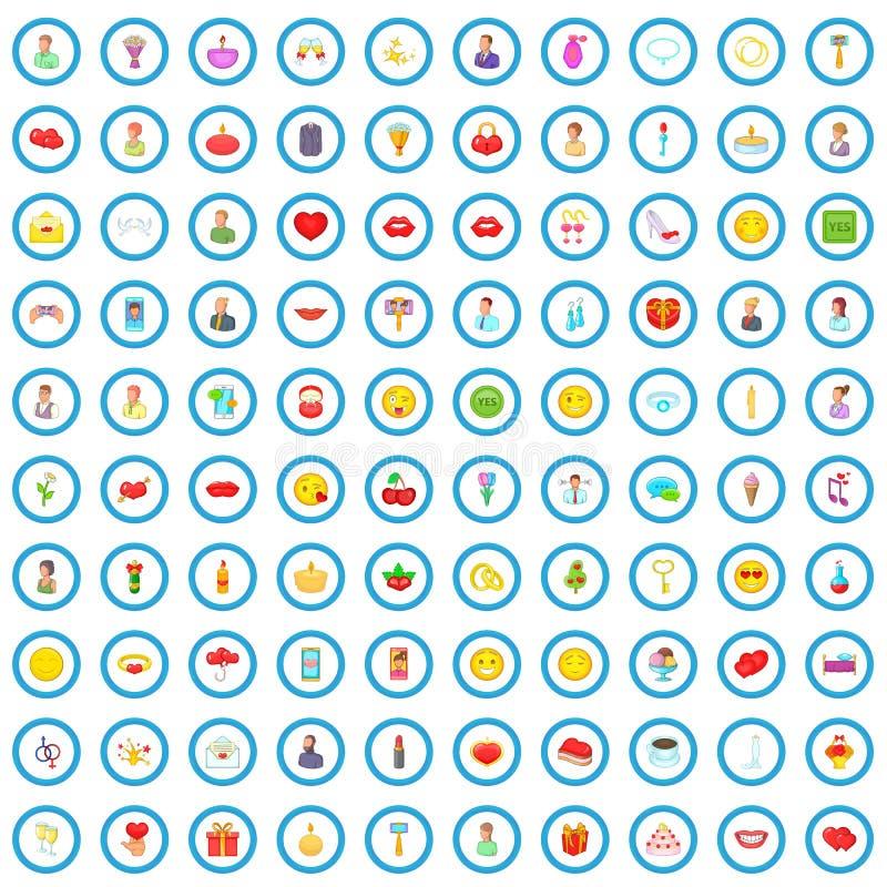 100 miłość ikon ustawiających, kreskówka styl ilustracja wektor