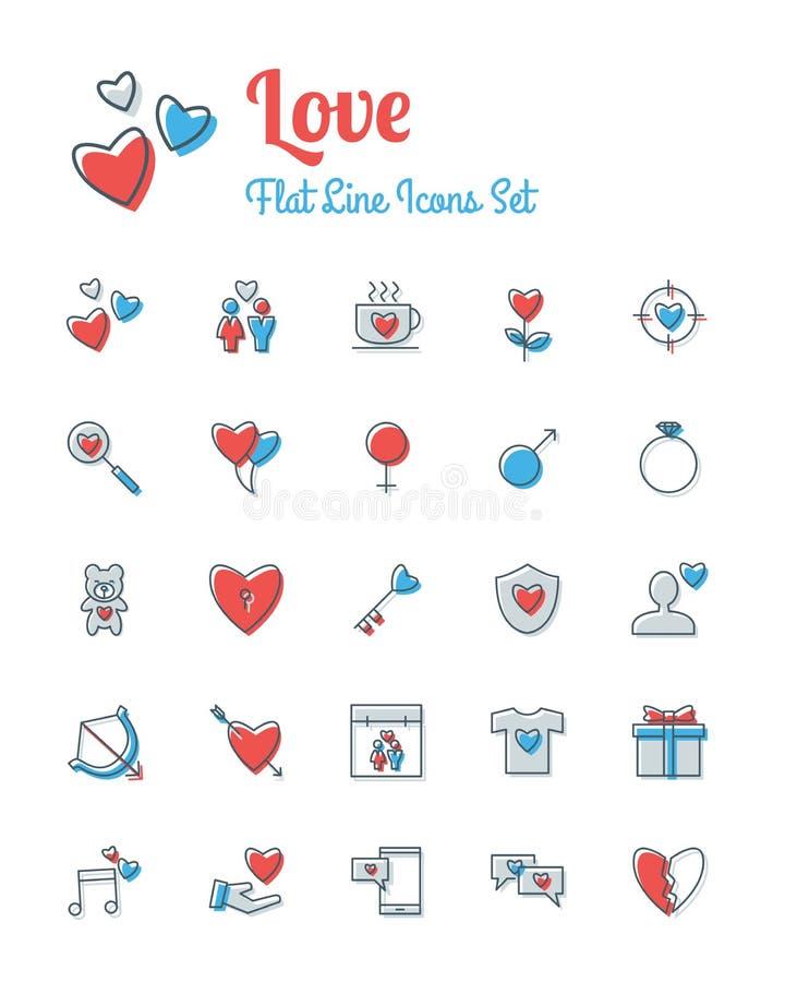 Miłość ikona ustawiający płaski kreskowy styl ilustracja wektor