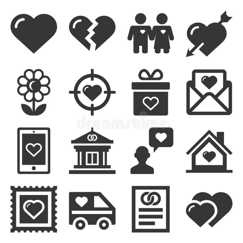 Miłość ikony Ustawiać na Białym tle wektor ilustracja wektor