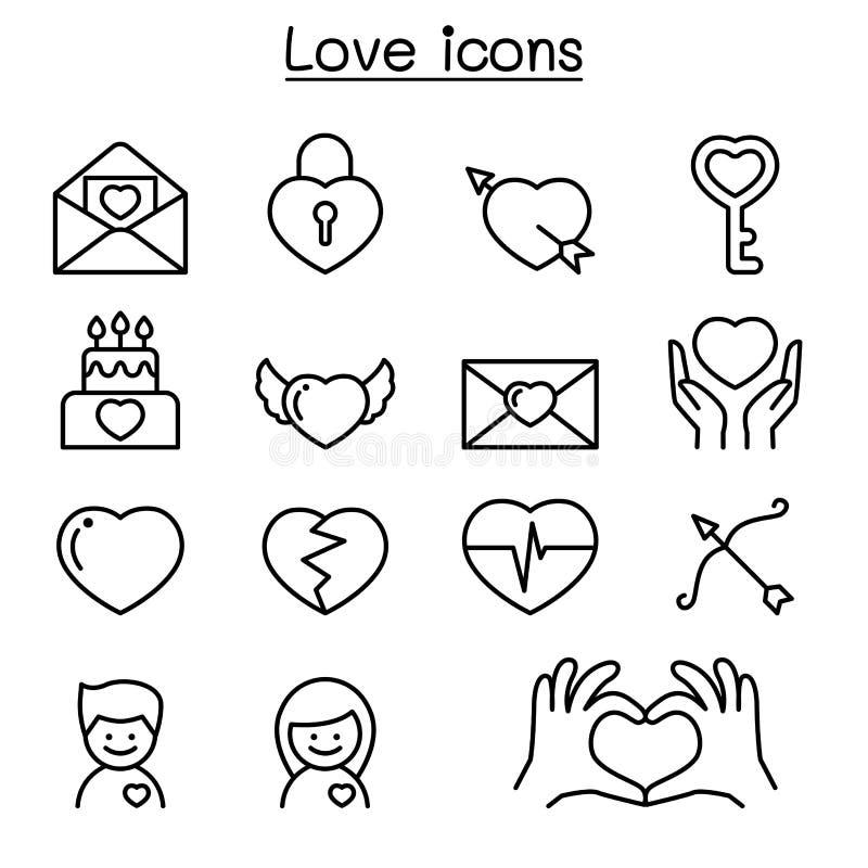 Miłość ikony ustawiać w cienkim kreskowym stylu ilustracji