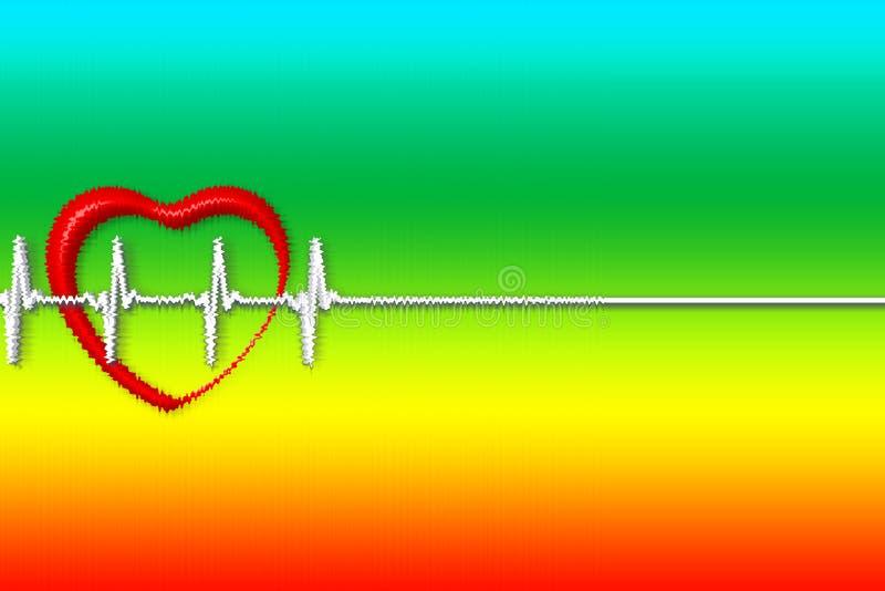 Miłość Ilustracja serce z pulsem bicie serca w tle tęcza ilustracja wektor