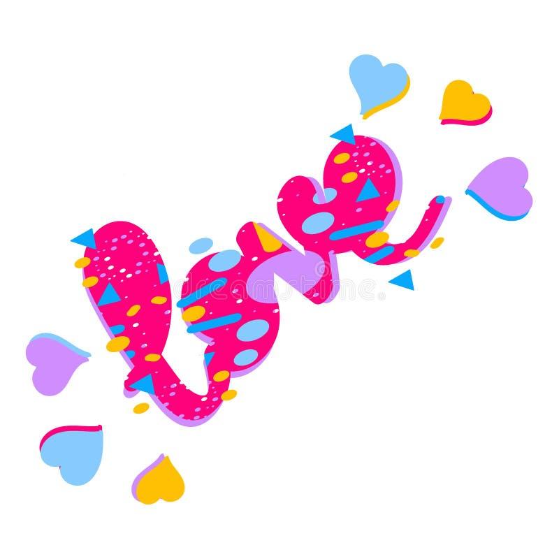 Miłość - inskrypcja Patroszeni serca i literowanie Słowo miłość maluje w różnych kolorach ilustracji