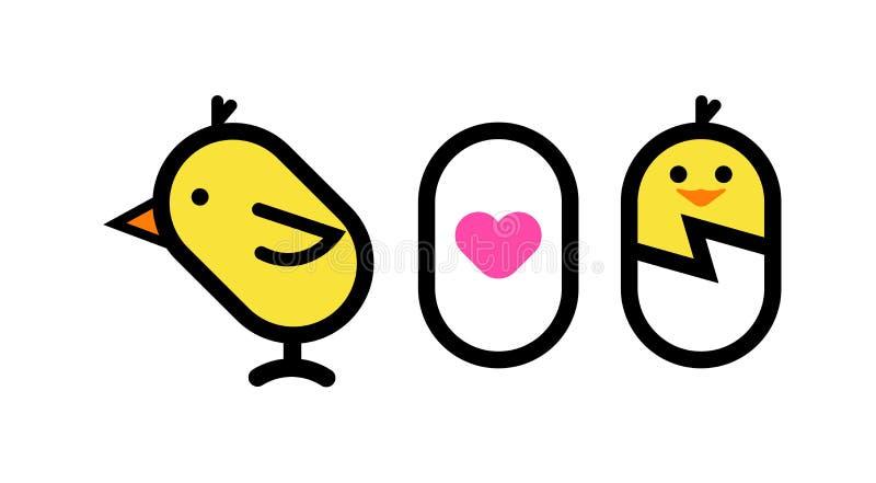 Miłość jajko i kurczak ilustracji