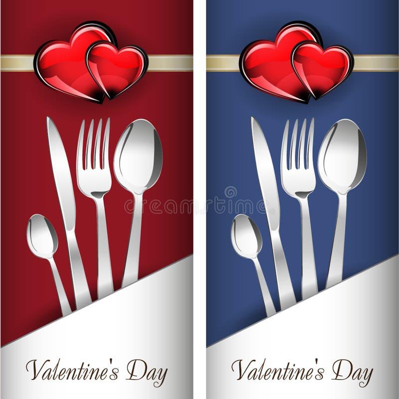 miłość jest dzień st serce walentynki Dwa karty z szklanym czerwieni i złota sercem na cudownym tle ilustracji
