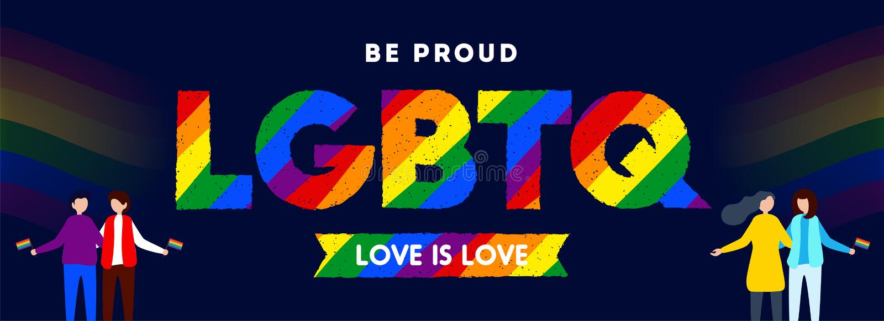 Miłość jest miłości pojęciem dla LGBTQ społeczności z ilustracją homoseksualista i lezbijka pary ilustracji