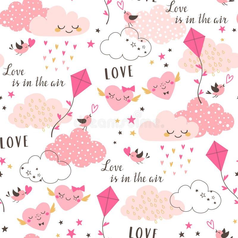 Miłość jest w lotniczym walentynki ` s wzorze ilustracja wektor