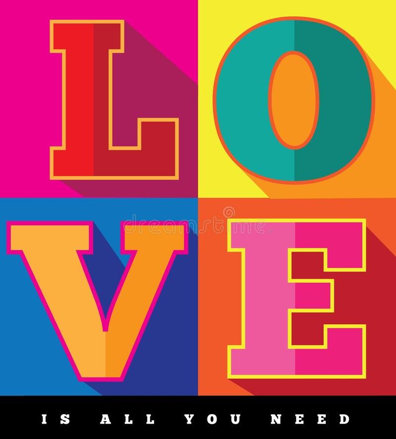 Miłość jest wszystko ty potrzebujesz płaskiego projekta wystrzału sztuki plakat royalty ilustracja