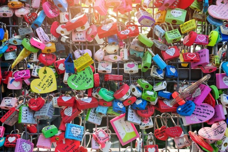 Miłość kędziorki przy N Seul wierza zdjęcia royalty free
