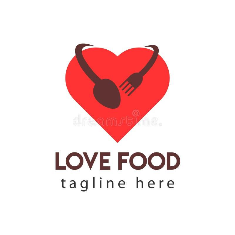 Miłość Karmowego logo szablonu projekta Wektorowa ilustracja ilustracji