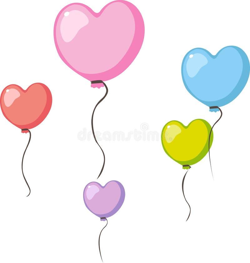 Miłość kierowego kształta valentines balonu kolorowa komarnica w powietrzu odizolowywającym na bielu - wektor royalty ilustracja