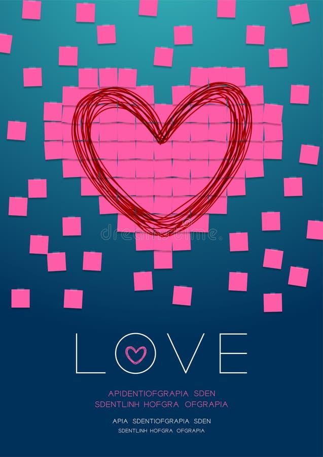 Miłość kierowy kształt papier notatką z kleistą taśmą, Pamięta valentine dnia pojęcia projekta ilustrację odizolowywającą na grad royalty ilustracja