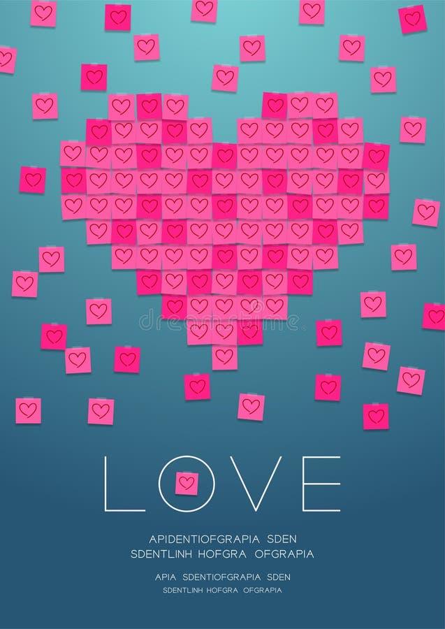 Miłość kierowy kształt papier notatką z kleistą taśmą, Pamięta valentine dnia pojęcia projekta ilustrację odizolowywającą na grad ilustracji