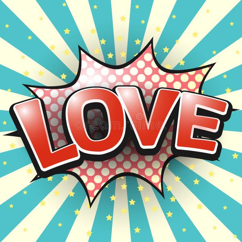 Miłość, Komiczny mowa bąbel wektor ilustracji