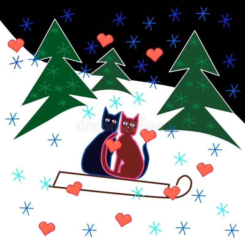 Miłość kotów saneczki przejażdżka przez śnieżnego zbocza ilustracja wektor