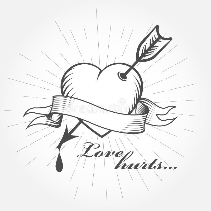 Miłość krzywdzi, walentynki ` s dzień - serce przebijający z strzała royalty ilustracja