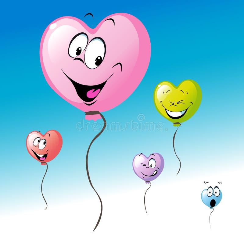 Miłość kształta kierowych kolorowych valentines balonowa kreskówka lata na niebieskie niebo projekcie - wektor ilustracja wektor