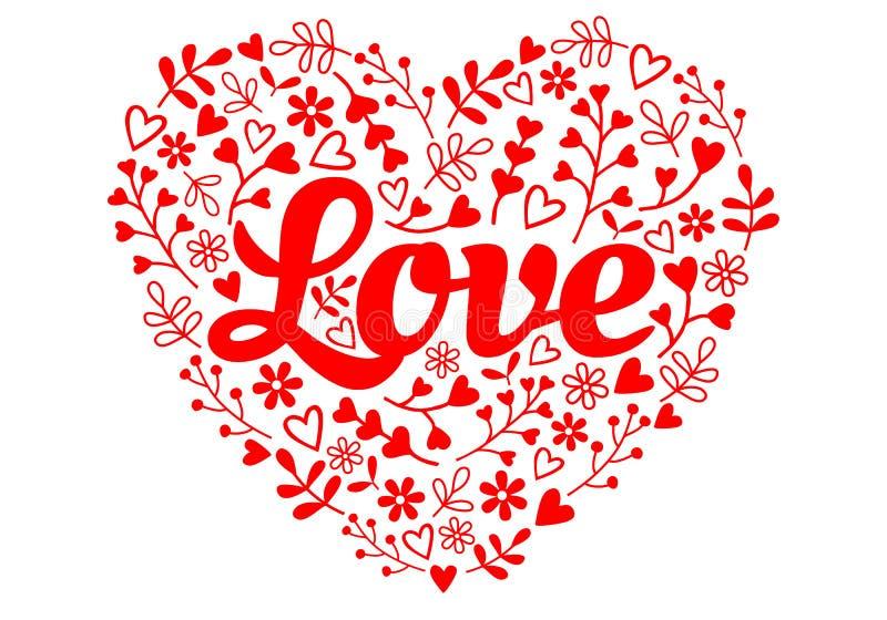 Miłość kwiatu czerwony serce, wektor ilustracja wektor