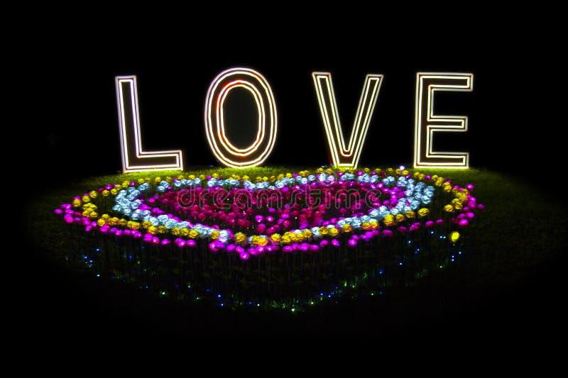 Miłość kwiatu Neonowy światło zdjęcia royalty free
