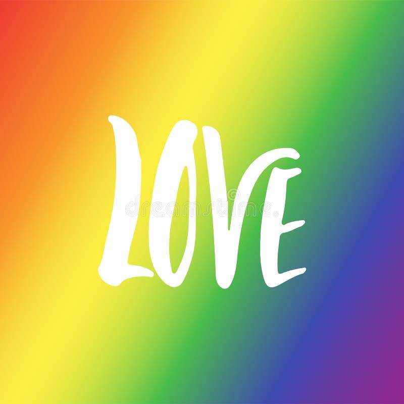 Miłość - LGBT sloganu literowania ręka rysująca wycena odizolowywająca na tęczy flaga tle Zabawa atramentu szczotkarska inskrypcj ilustracja wektor