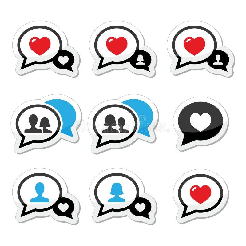Miłość, mowa gulgocze z kierowymi ikonami ustawiać royalty ilustracja