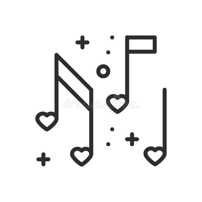 Miłość muzycznych kierowych notatek kreskowa ikona Znak i symbol Dyskoteka tana życia nocnego klubu przyjęcia temat Partyjna pods royalty ilustracja