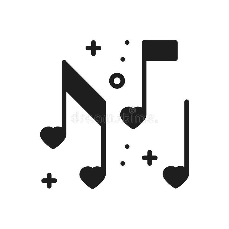 Miłość muzycznych kierowych notatek kreskowa ikona Znak i symbol Dyskoteka tana życia nocnego klubu przyjęcia temat Partyjna pods ilustracji