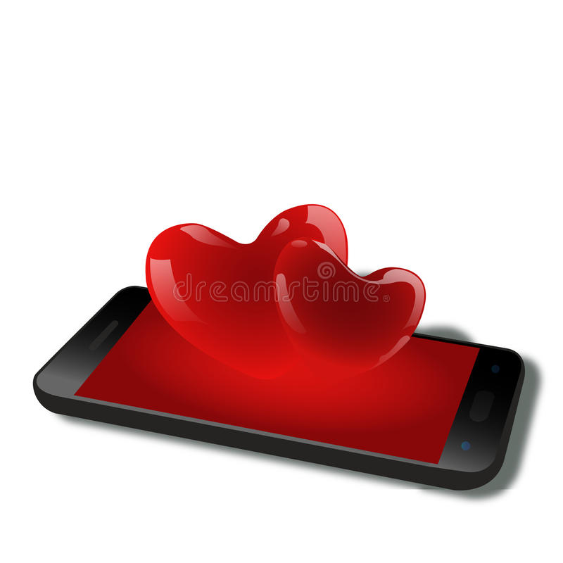 Miłość od handphone royalty ilustracja