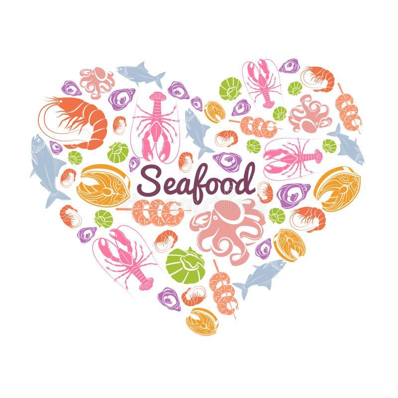 Miłość owoce morza pojęcie ilustracja wektor