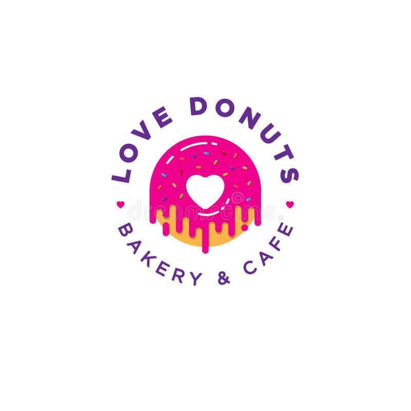 Miłość pączka logo Piekarni i donuts kawiarni emblemat Różowy pączek z kierowym logem ilustracji