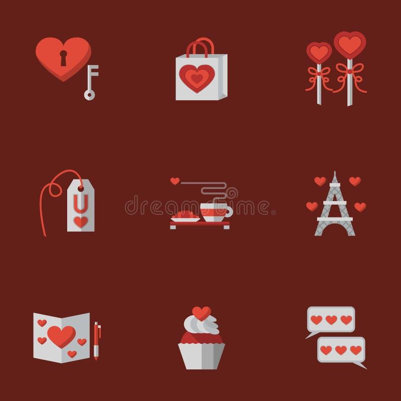 Miłość płaskie ikony na czerwieni ilustracji