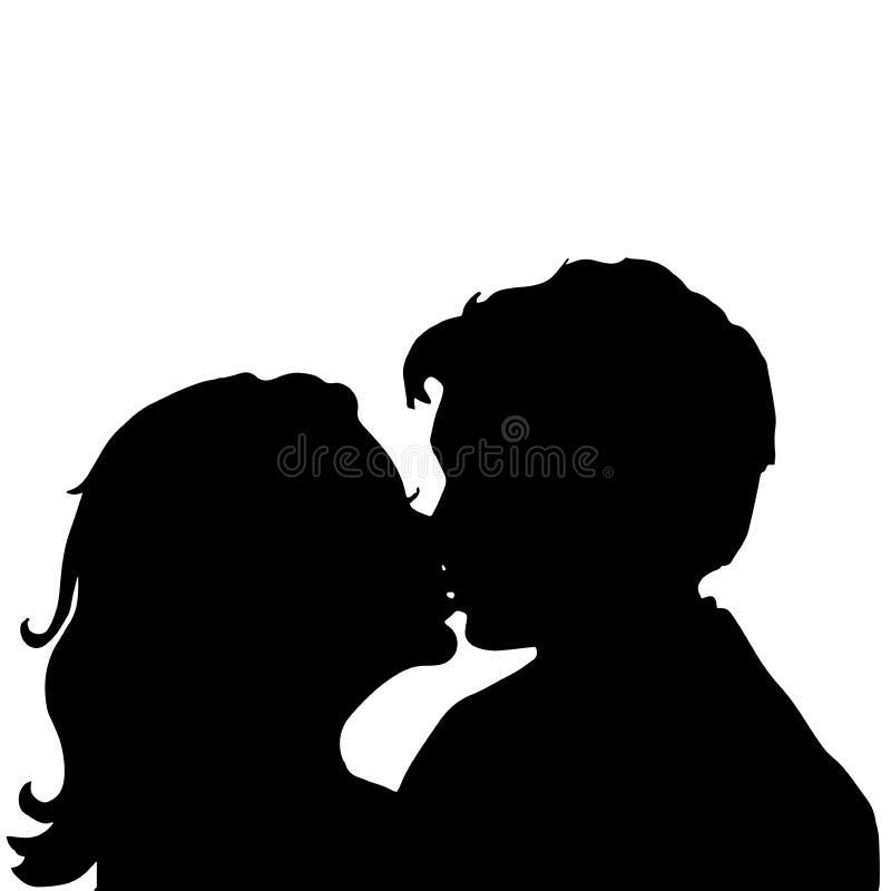 Miłość para buziak royalty ilustracja