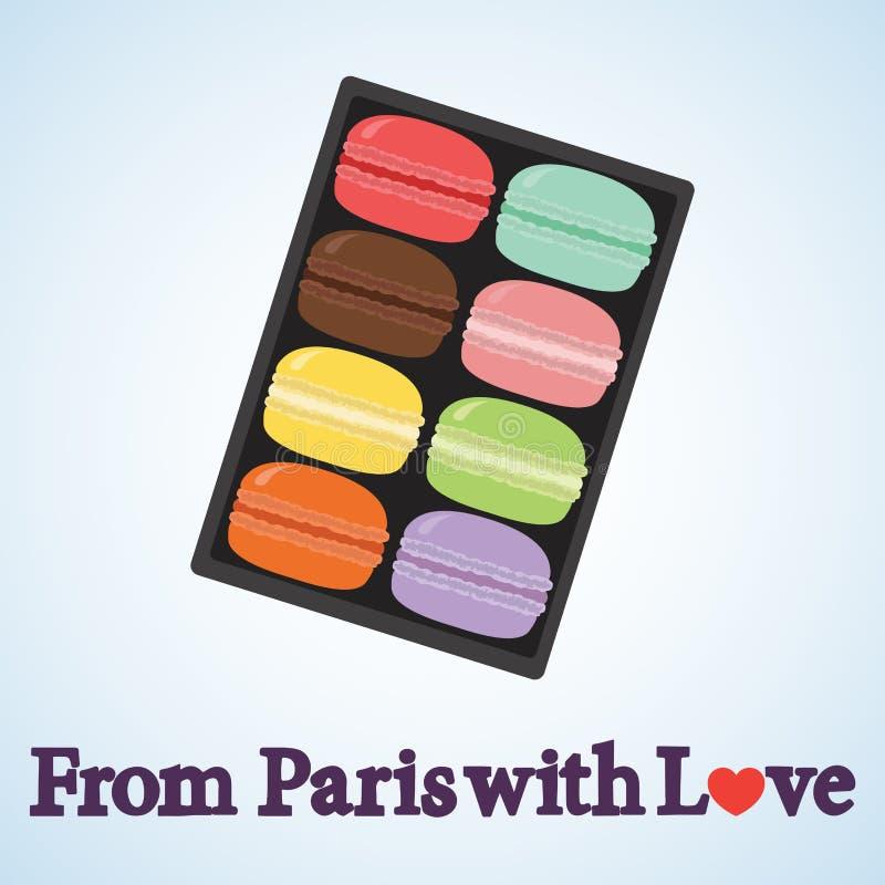 miłość Paris Macarons royalty ilustracja