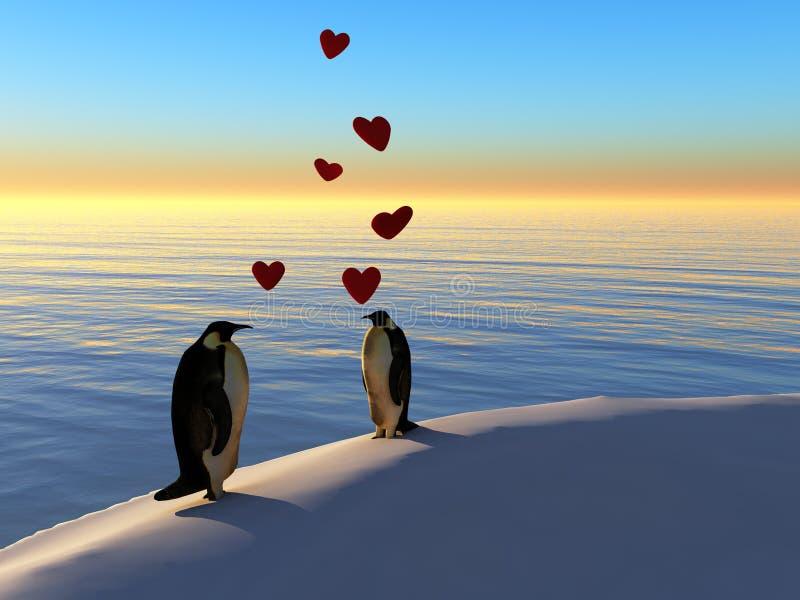 miłość pingwiny royalty ilustracja