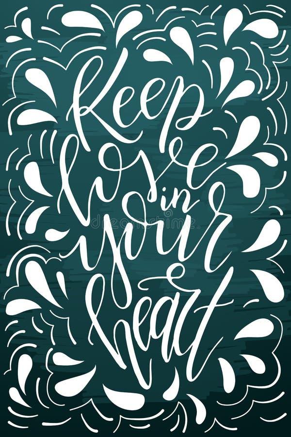 Miłość pocztówkowy graficzny projekt Wektorowy literowanie dla plakata Typographical projekt z kreatywnie sloganem Atrament ilust royalty ilustracja