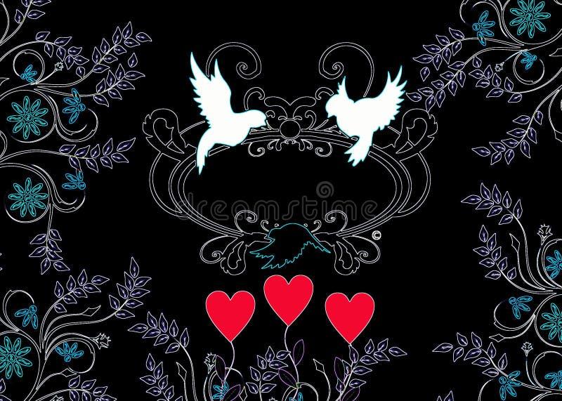 Miłość ptaków sylwetka z ornamentami obrazy royalty free