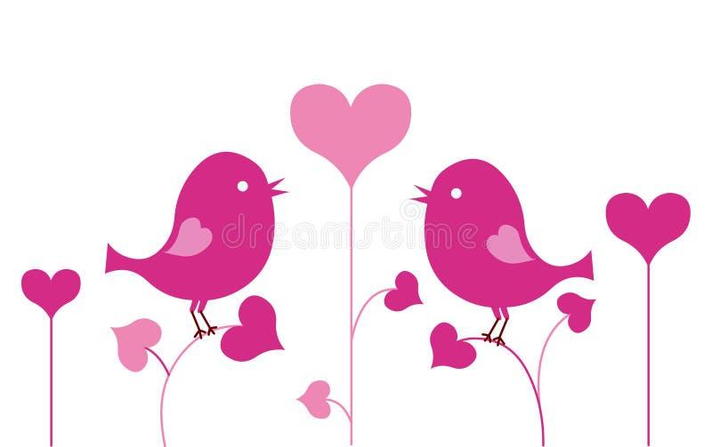 Miłość ptak z sercem Para miłość ptaki odizolowywający na białym tle royalty ilustracja