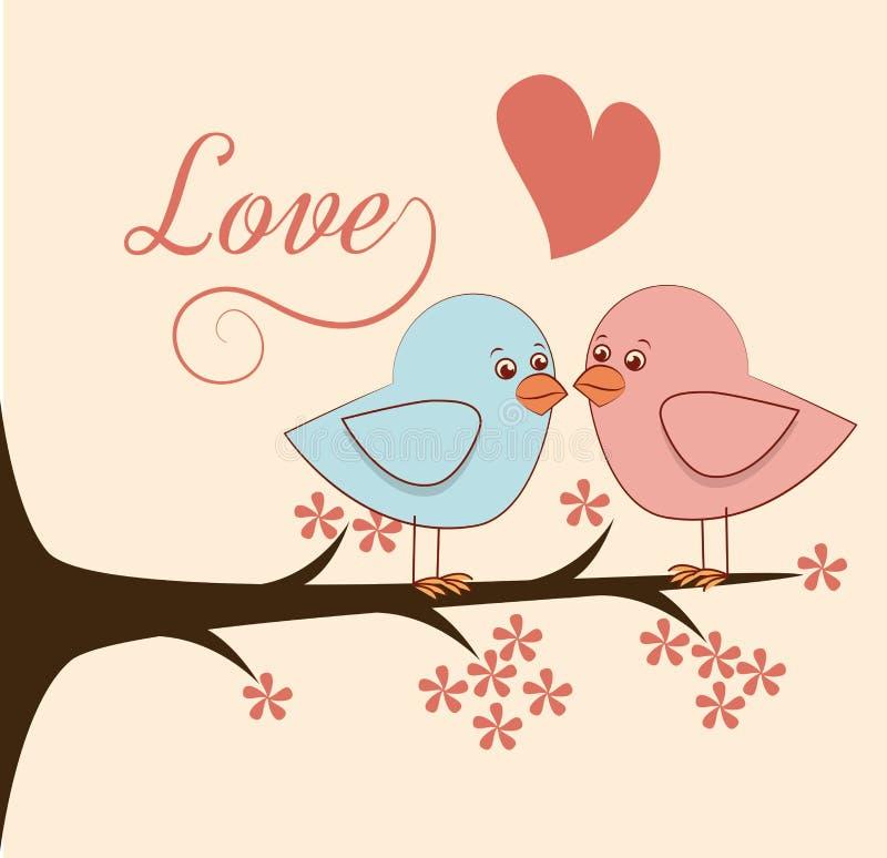 Miłość ptaki i drzewo ilustracji