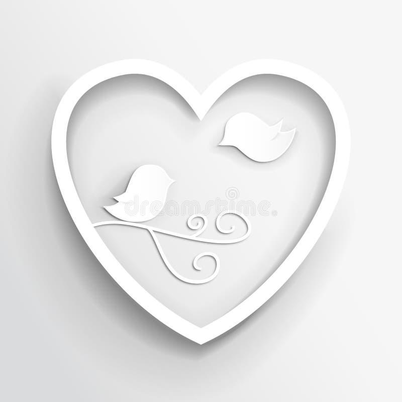 Miłość ptaki w serce ramy wektoru wizerunku ilustracji